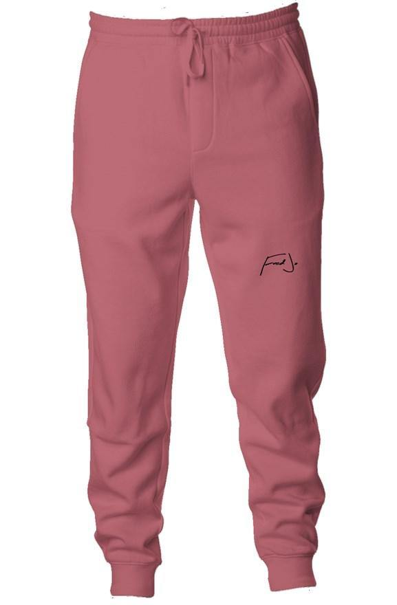 Fred Jo Pigment Dyed Fleece Joggers Maroon - Fred jo Clothing