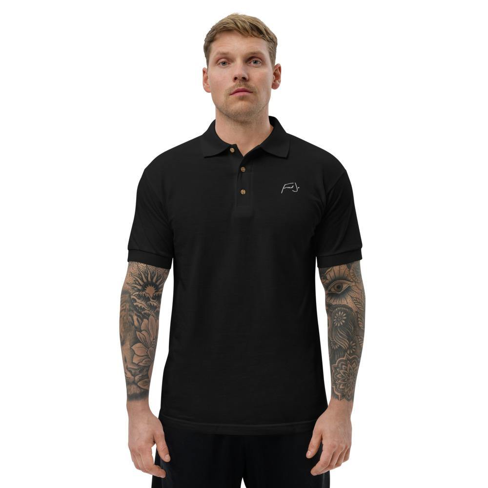 Fred Jo Black Embroidered Polo Shirt - Fred jo Clothing