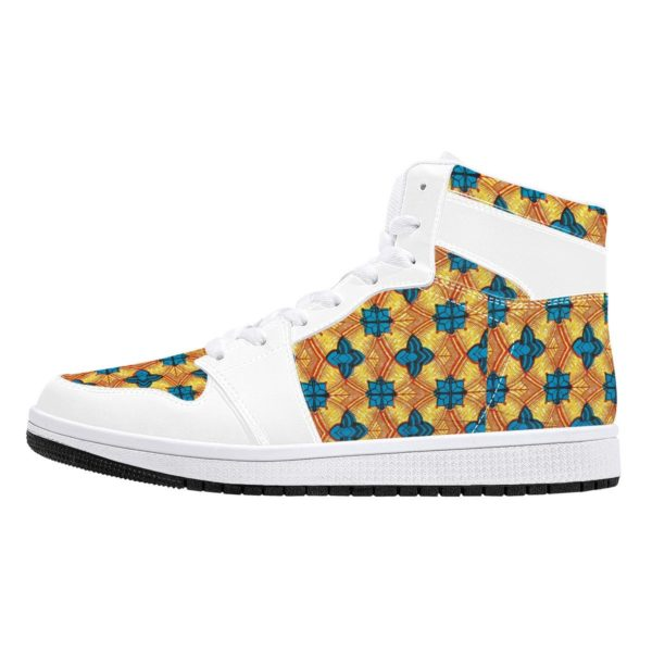 Fred Jo African Sunshine High-Top Leather Sneakers - White - Fred jo Clothing
