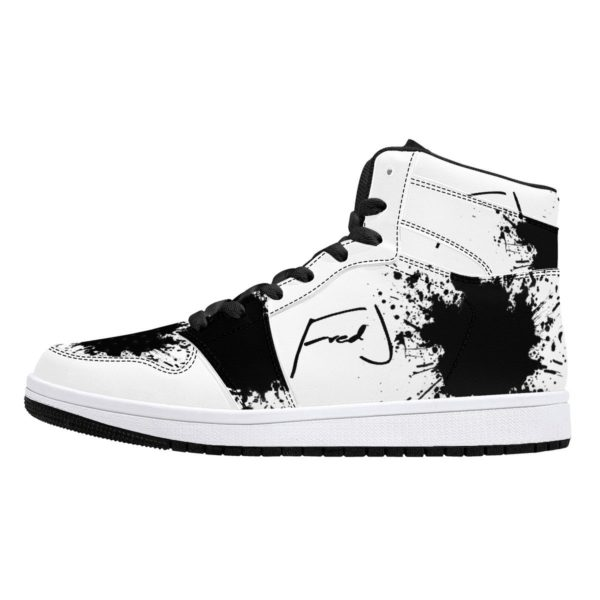 Fred Jo Black Splash High-Top Leather Sneakers - Fred jo Clothing