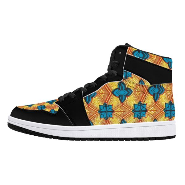 Fred Jo African Sunshine High-Top Leather Sneakers - Black - Fred jo Clothing